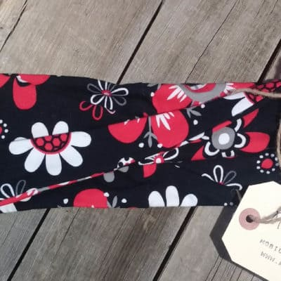 Red Black and White Flowers Kids Headband