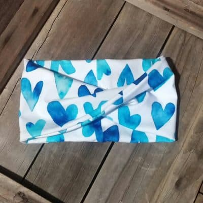 Blue Watercolor Hearts Headband
