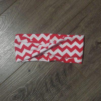 red white chevron kids headband