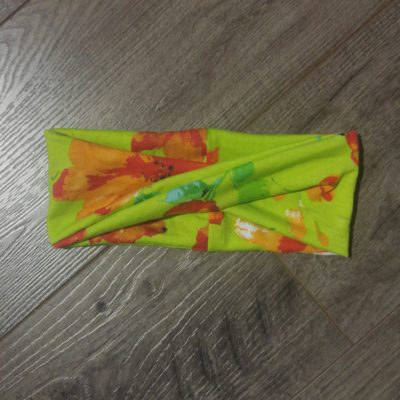 green and orange floral kids headband