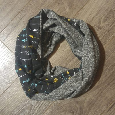Mustard Arrows and Grey French Terry Scarf