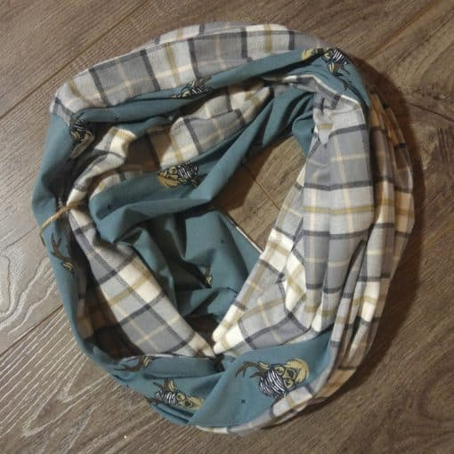 Hipster Deer and Plaid Scarf