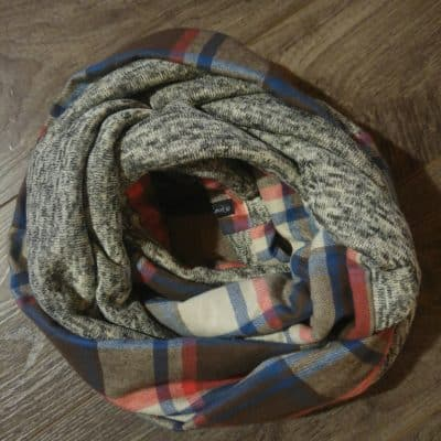 Blue Plaid and Fleece Knit Scarf