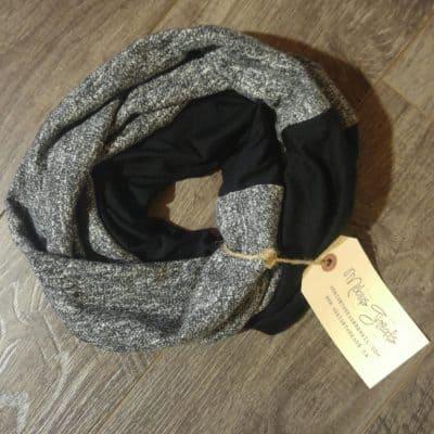 Black Merino Wool Mens Scarf