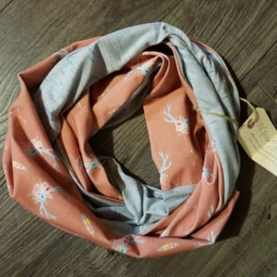 Spring Coral and Grey Scarf