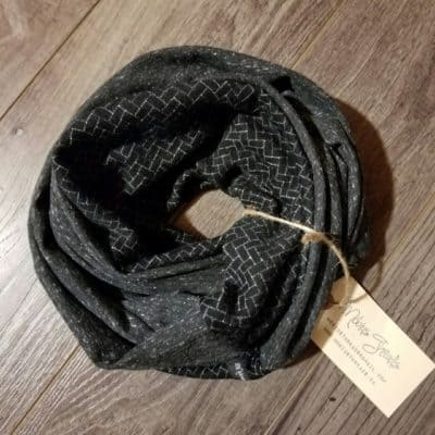 Merino Wool With Black French Terry Sweat Unisex Scarf