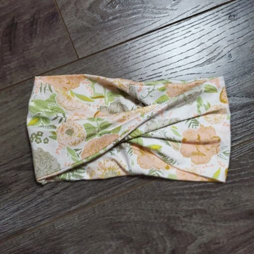 Coral and Green Cotton Flowers Headband